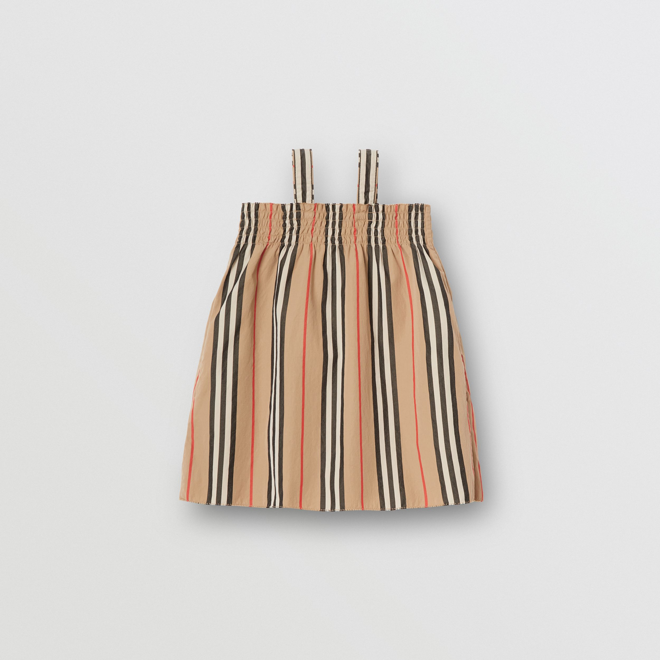 Smocked Icon Stripe Cotton Dress in Archive Beige - Children | Burberry United States - 4