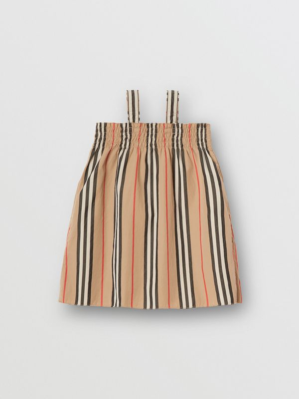 Smocked Icon Stripe Cotton Dress in Archive Beige - Children | Burberry - cell image 3