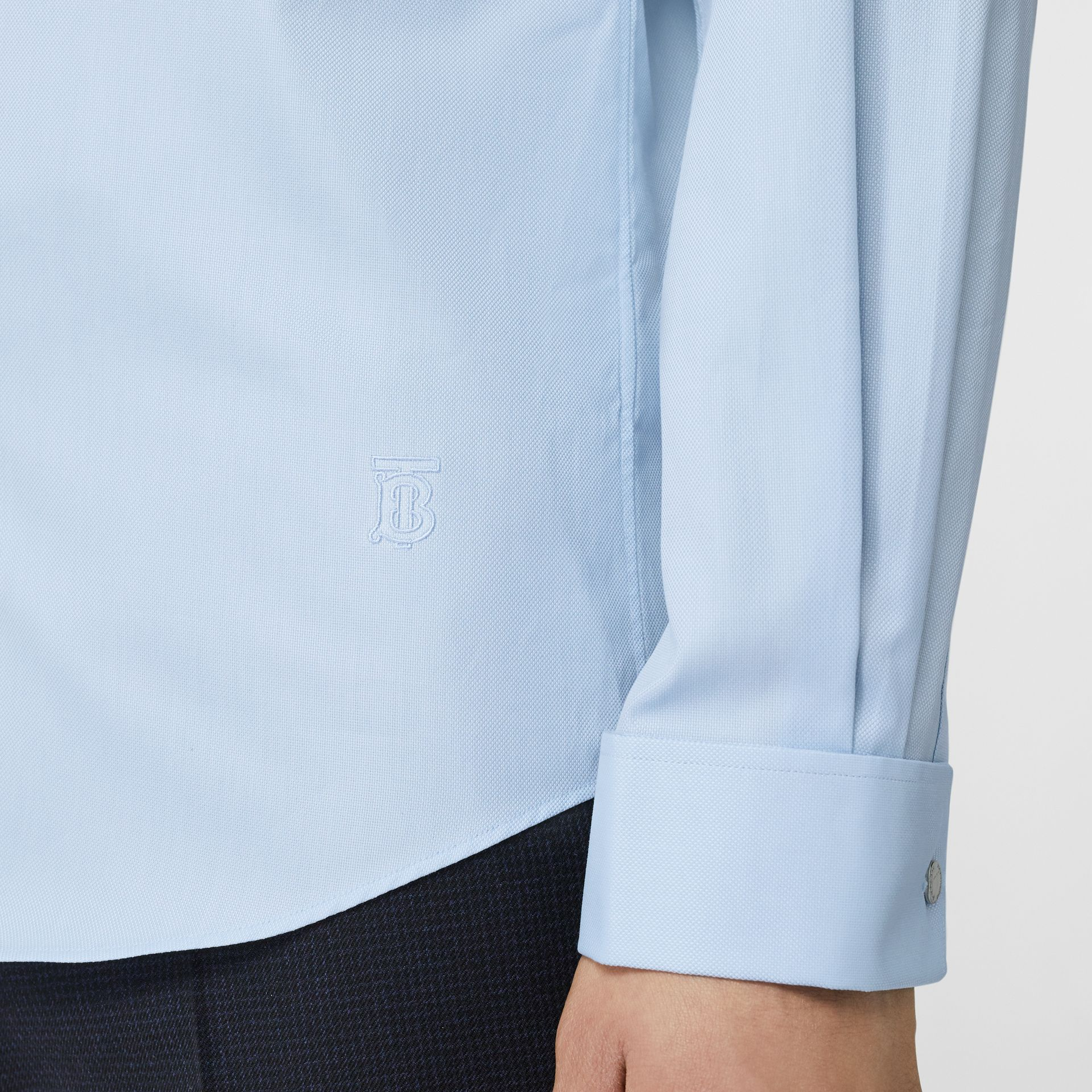 Classic Fit Monogram Motif Cotton Oxford Shirt in Pale Blue - Men | Burberry - gallery image 4