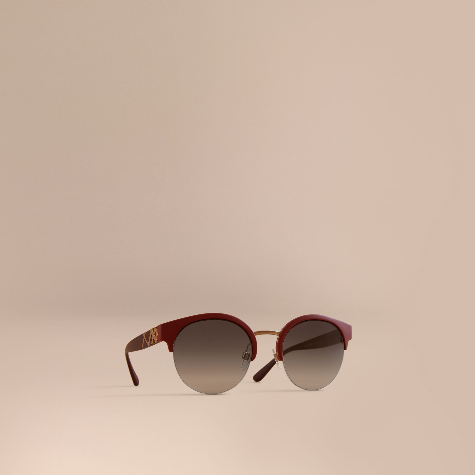 Check Detail Round Half-frame Sunglasses in Burgundy - Women | Burberry United Kingdom - gallery image 0