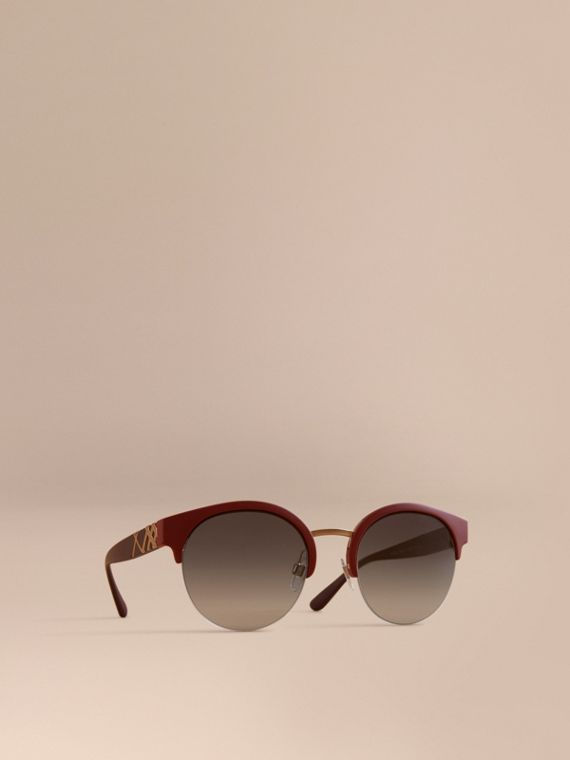 Check Detail Round Half-frame Sunglasses in Burgundy - Women | Burberry