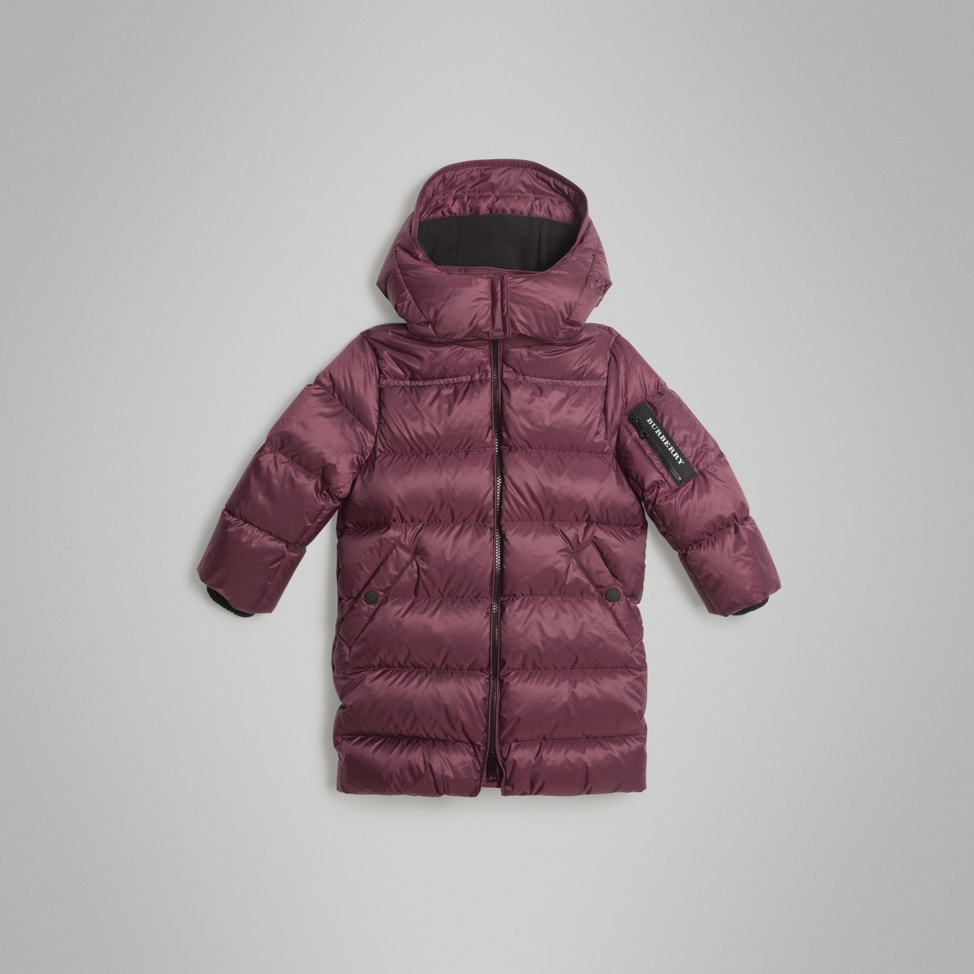 Detachable Hood Down-filled Puffer Coat in Beetroot | Burberry Australia - gallery image 0