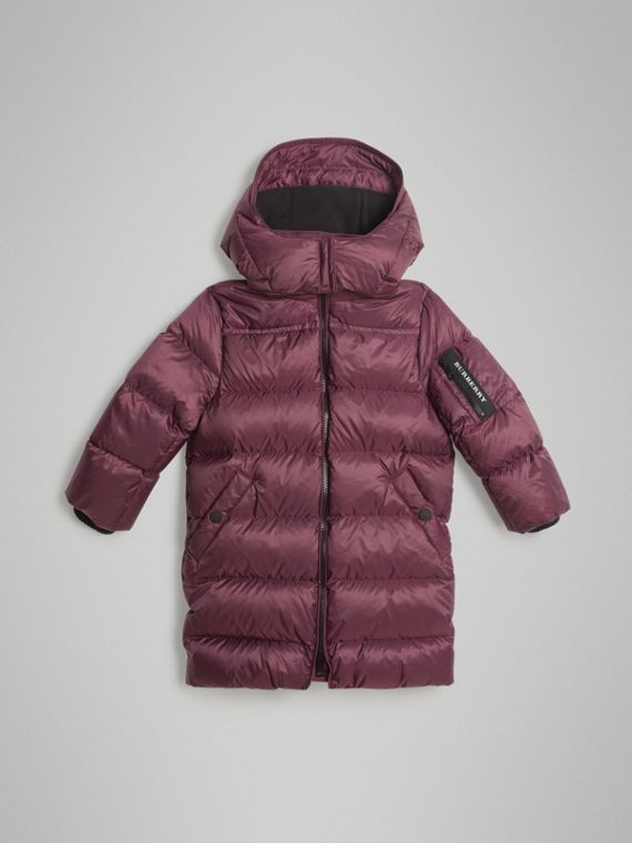 Detachable Hood Down-filled Puffer Coat in Beetroot