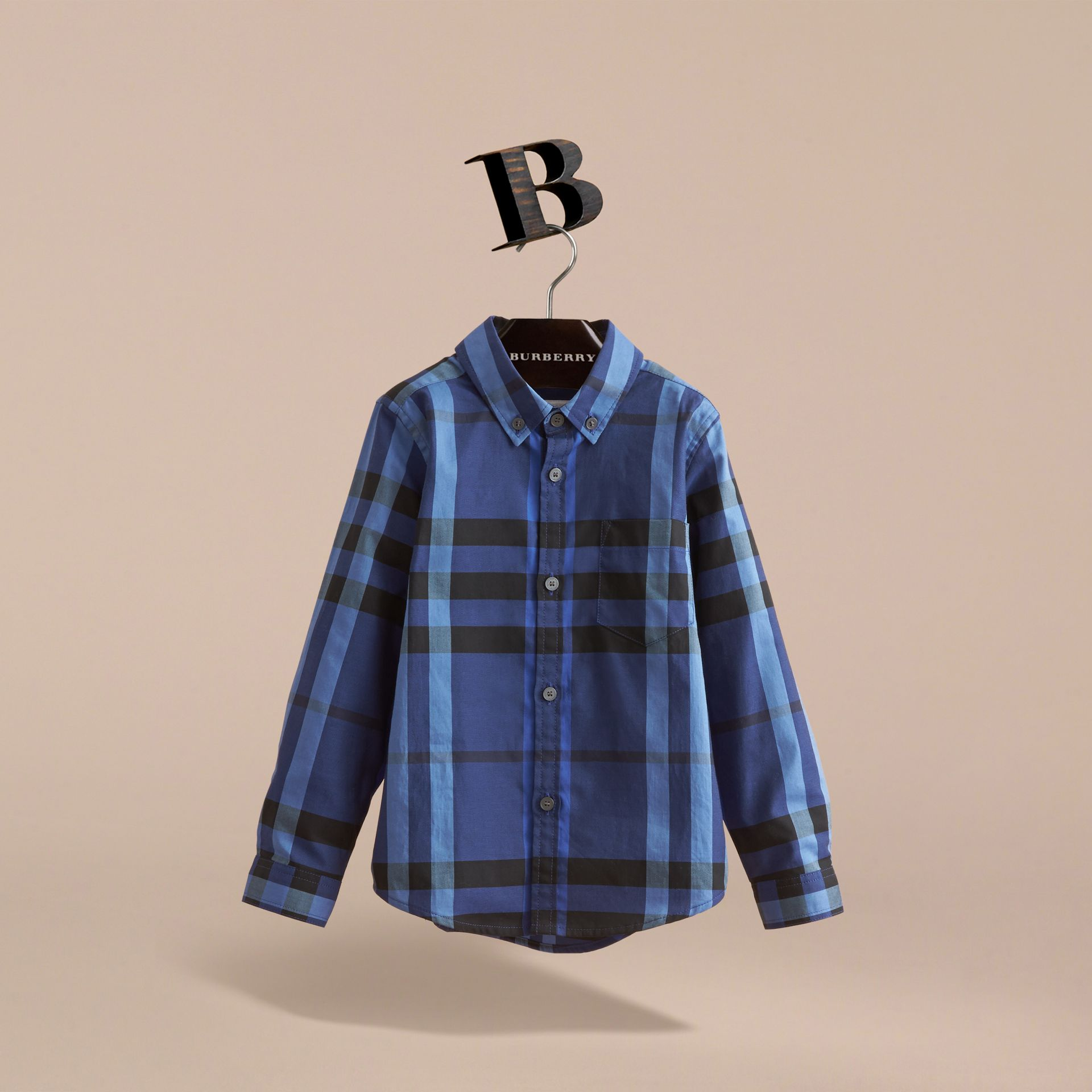 Check Cotton Button-Down Shirt in Brilliant Blue - Boy | Burberry - gallery image 3