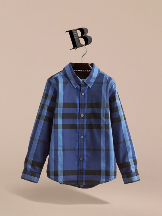 Check Cotton Button-Down Shirt in Brilliant Blue - Boy | Burberry - cell image 2