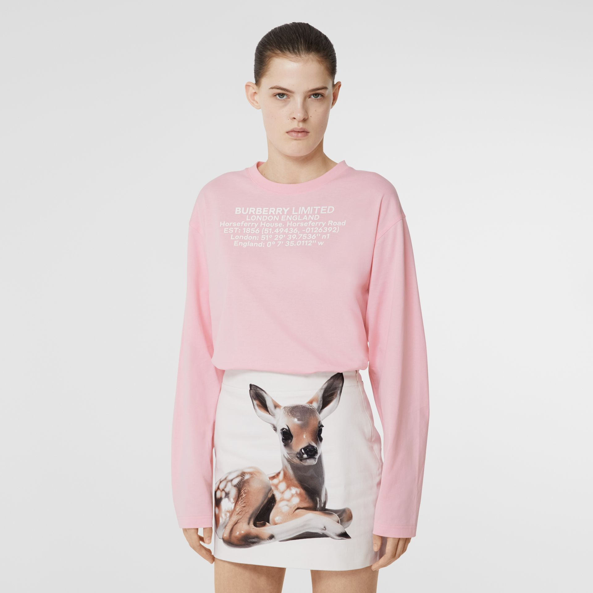 Long-sleeve Location Print Cotton Oversized Top in Candy Pink - Women | Burberry - gallery image 4