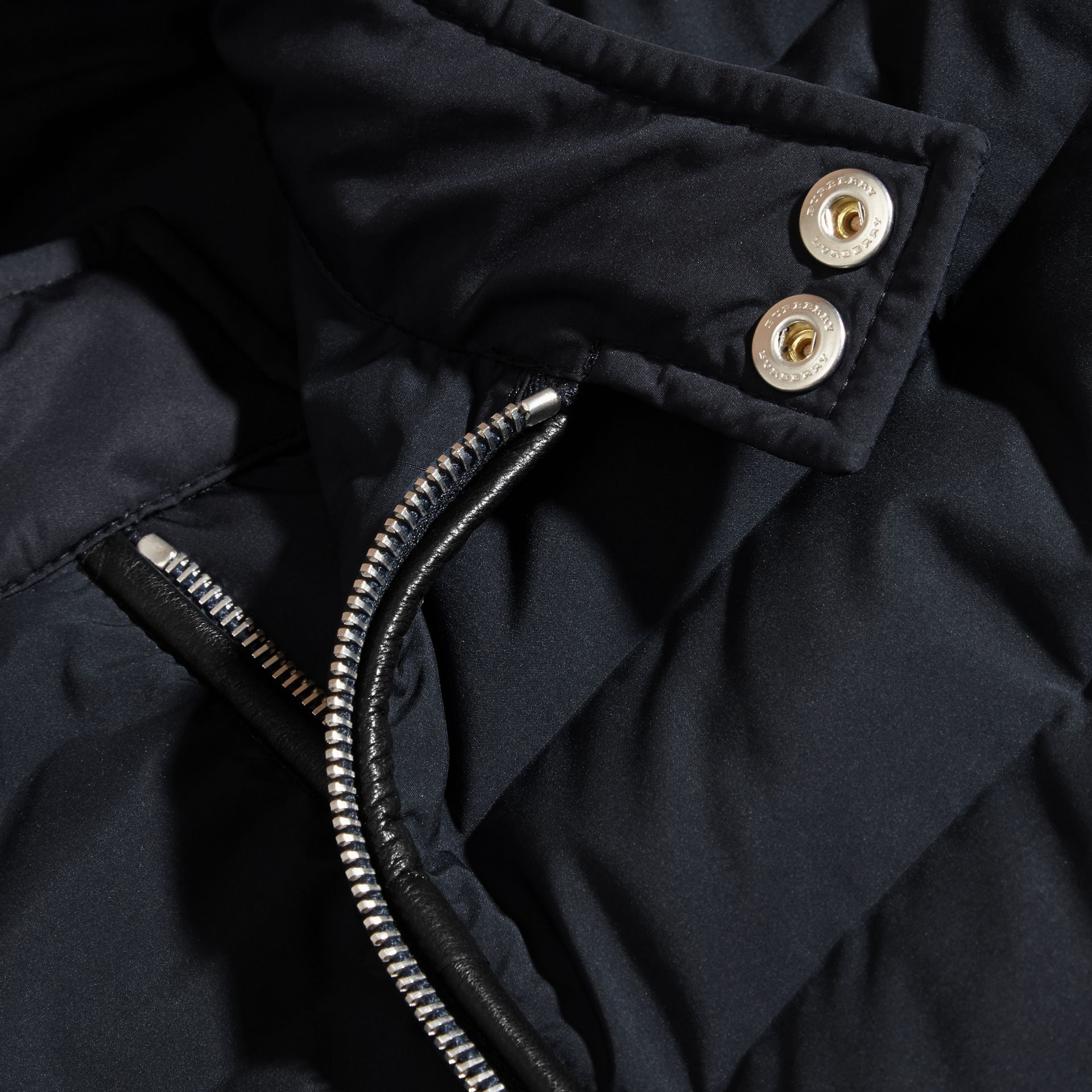 Navy Down-Filled Jacket with Knitted Sleeves - gallery image 2