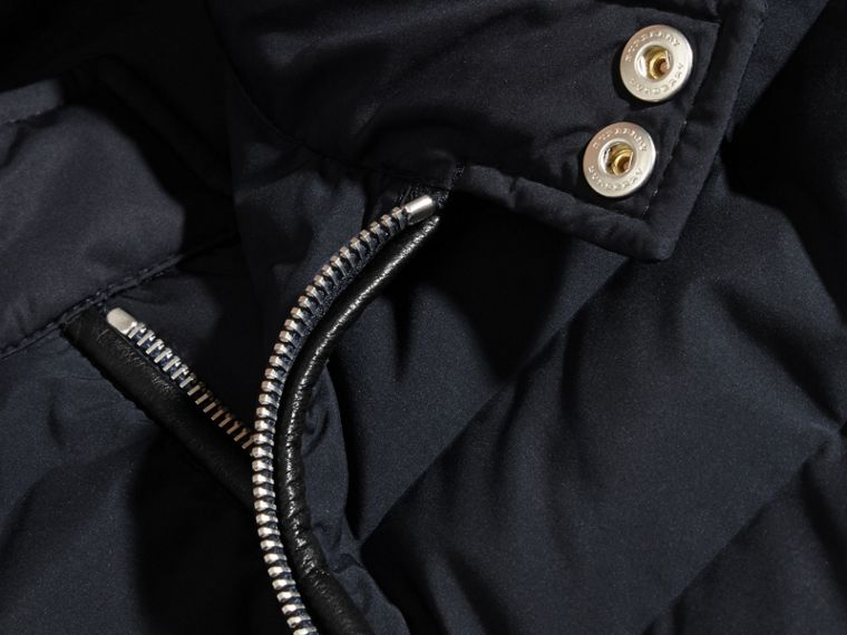 Navy Down-Filled Jacket with Knitted Sleeves - cell image 1