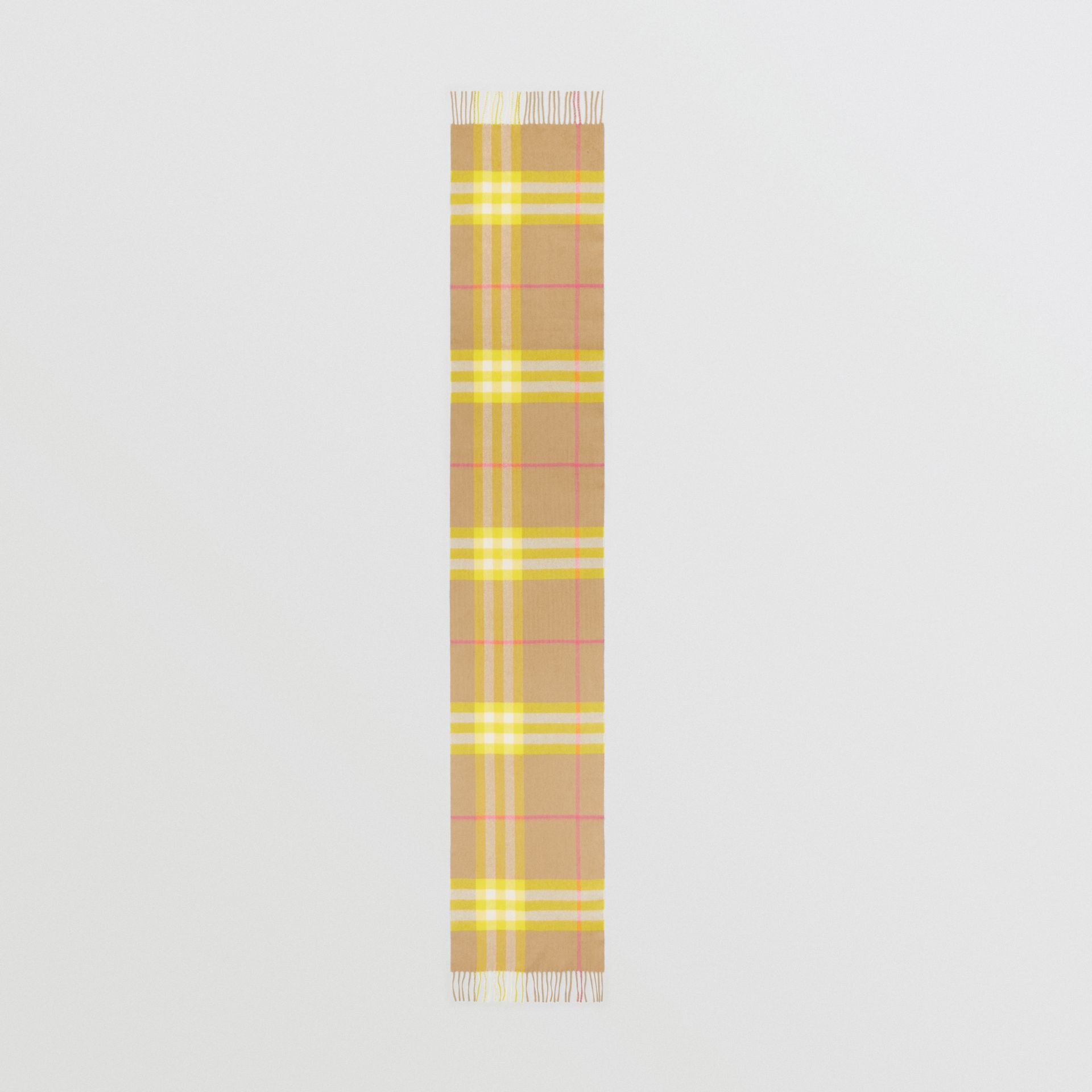 The Classic Check Cashmere Scarf in Archive Beige/yellow | Burberry Canada - gallery image 4