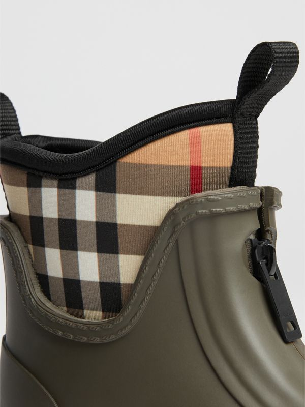 Vintage Check Neoprene and Rubber Rain Boots in Military Green | Burberry Canada - cell image 3