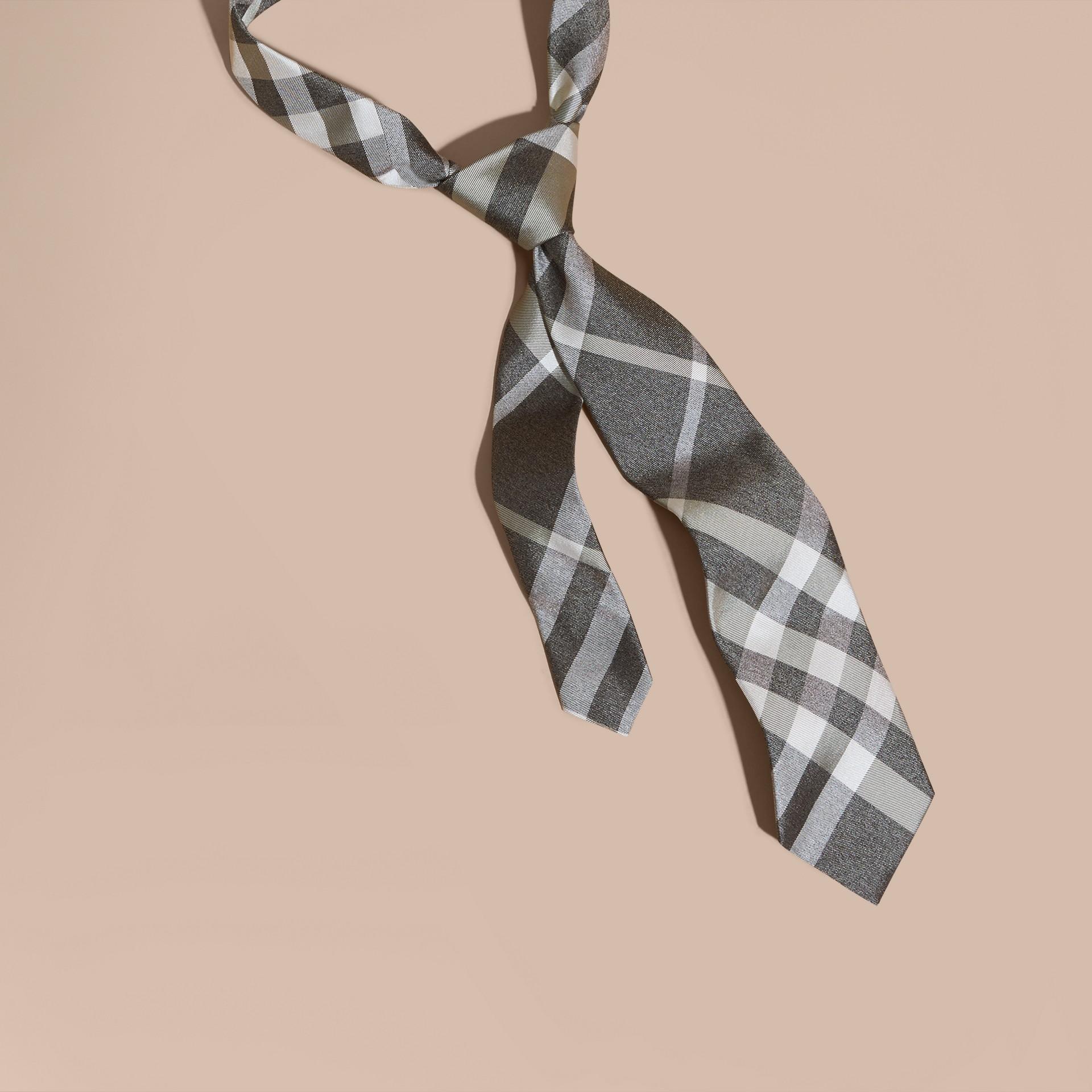 Light grey melange Classic Cut Check Silk Tie Light Grey Melange - gallery image 1