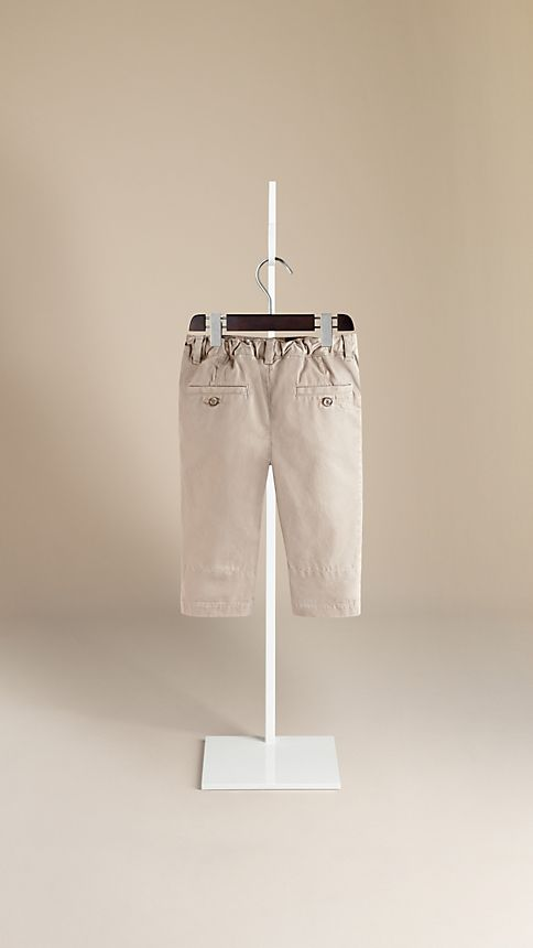 Taupe Check Cuff Chinos - Image 2