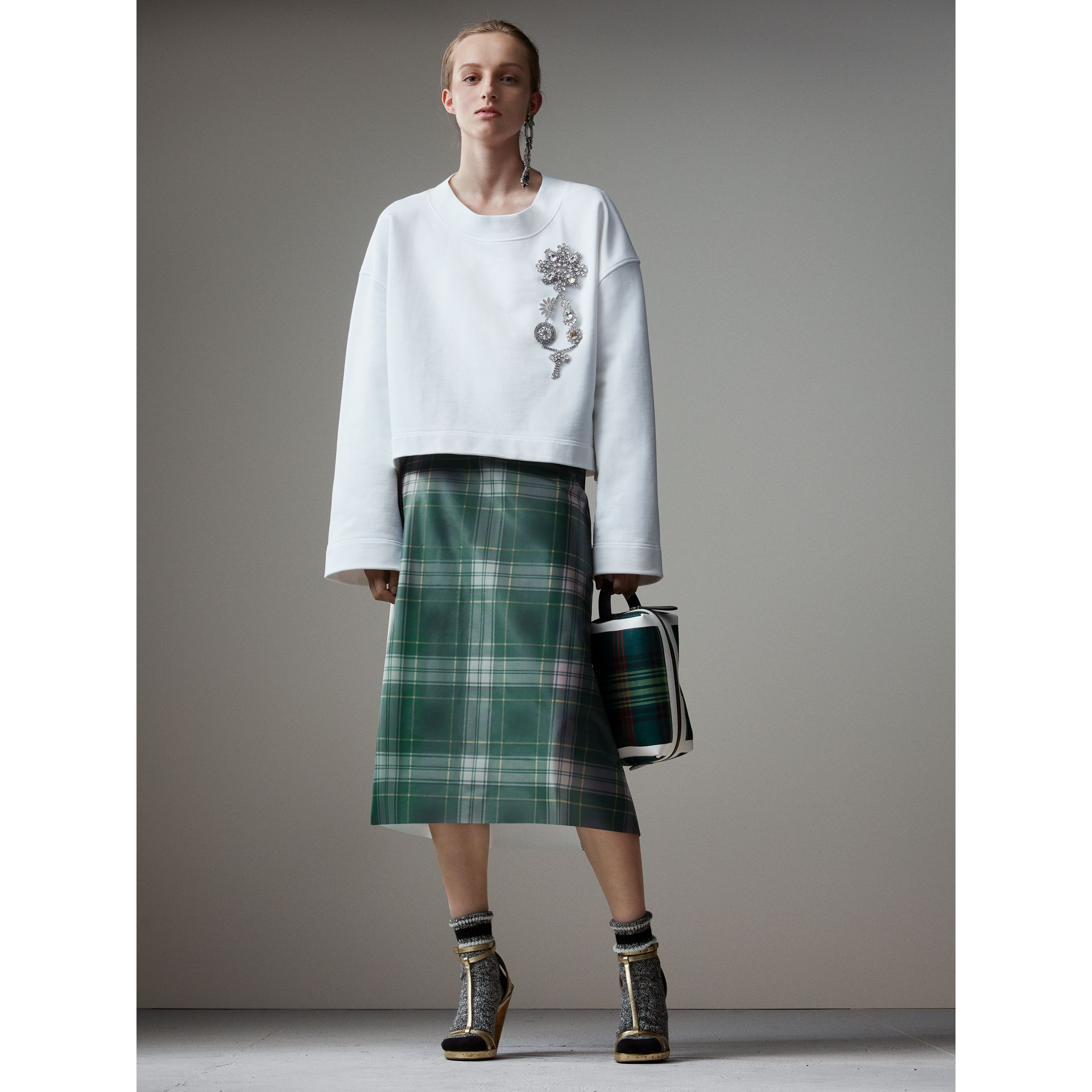 Silk-lined Tartan Plastic A-line Skirt in Green - Women | Burberry - gallery image 6