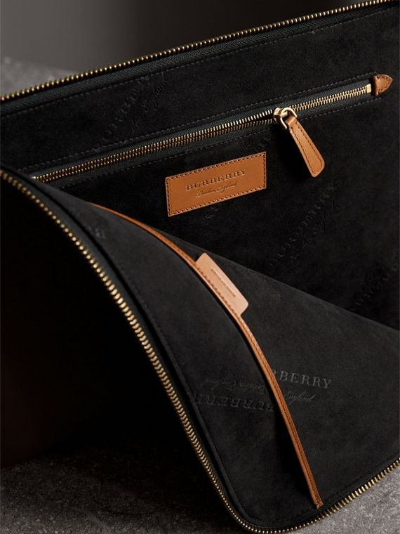 Embossed Leather Document Case in Chestnut Brown - Men | Burberry Australia - cell image 3
