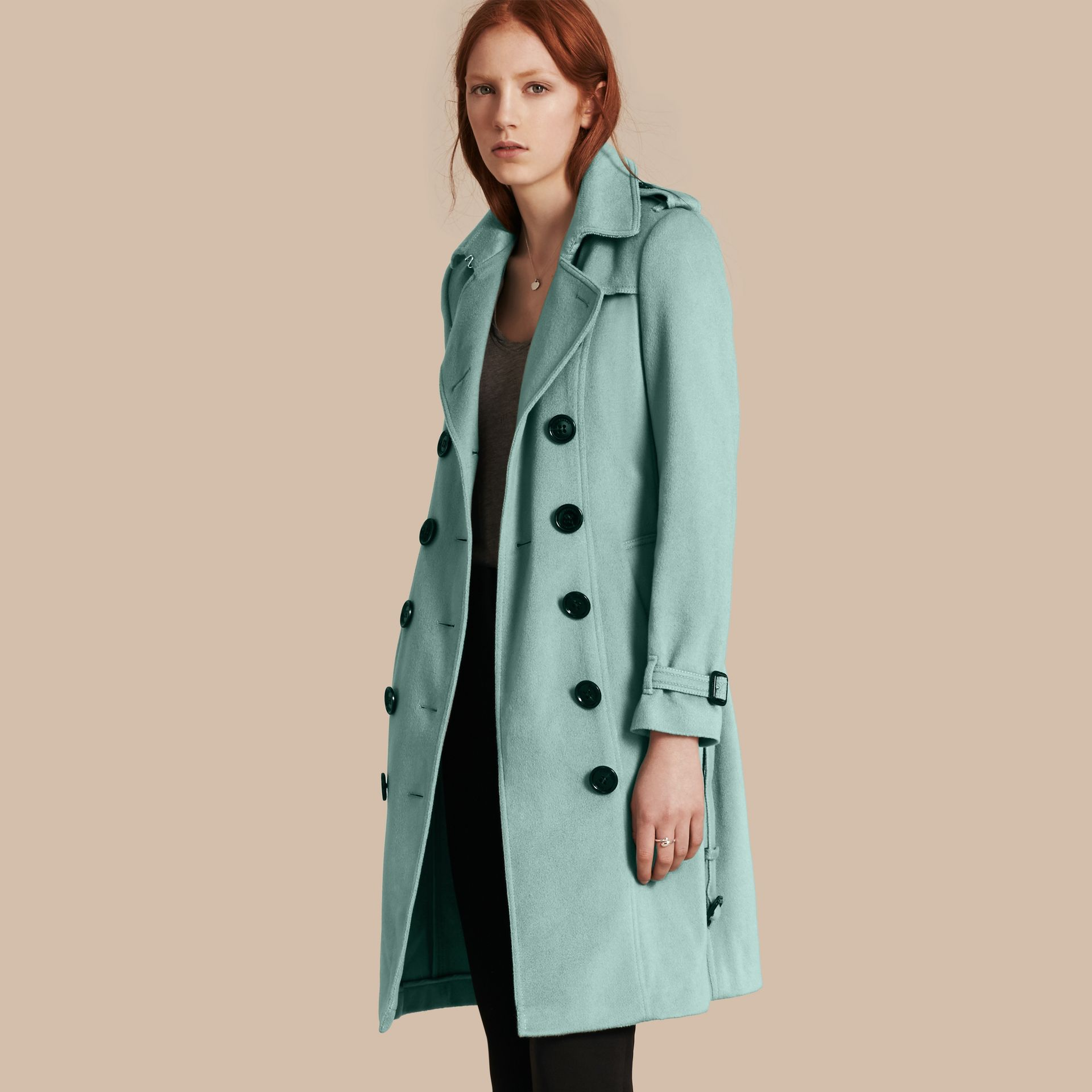 Dusty mint Sandringham Fit Cashmere Trench Coat Dusty Mint - gallery image 1