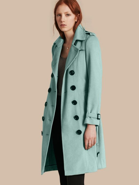 Sandringham Fit Cashmere Trench Coat in Dusty Mint