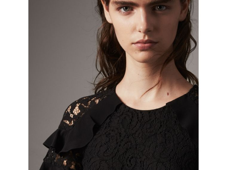 Ruffle Detail Floral Lace Dress in Black - Women | Burberry - cell image 1