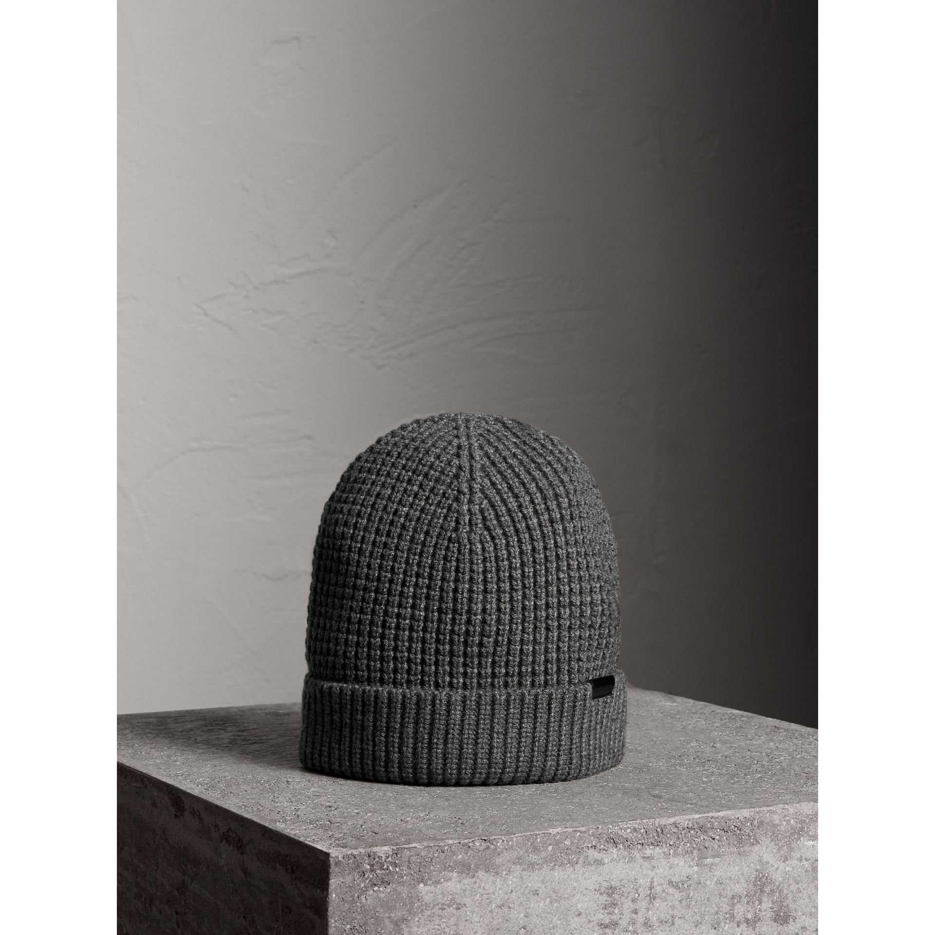 Cashmere Blend Waffle Knit Beanie in Mid Grey | Burberry United States - gallery image 1