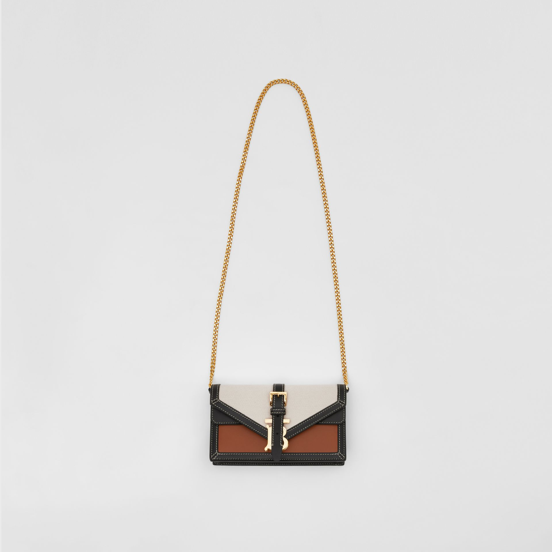 Mini Canvas and Leather TB Envelope Clutch in Tan - Women | Burberry - gallery image 2