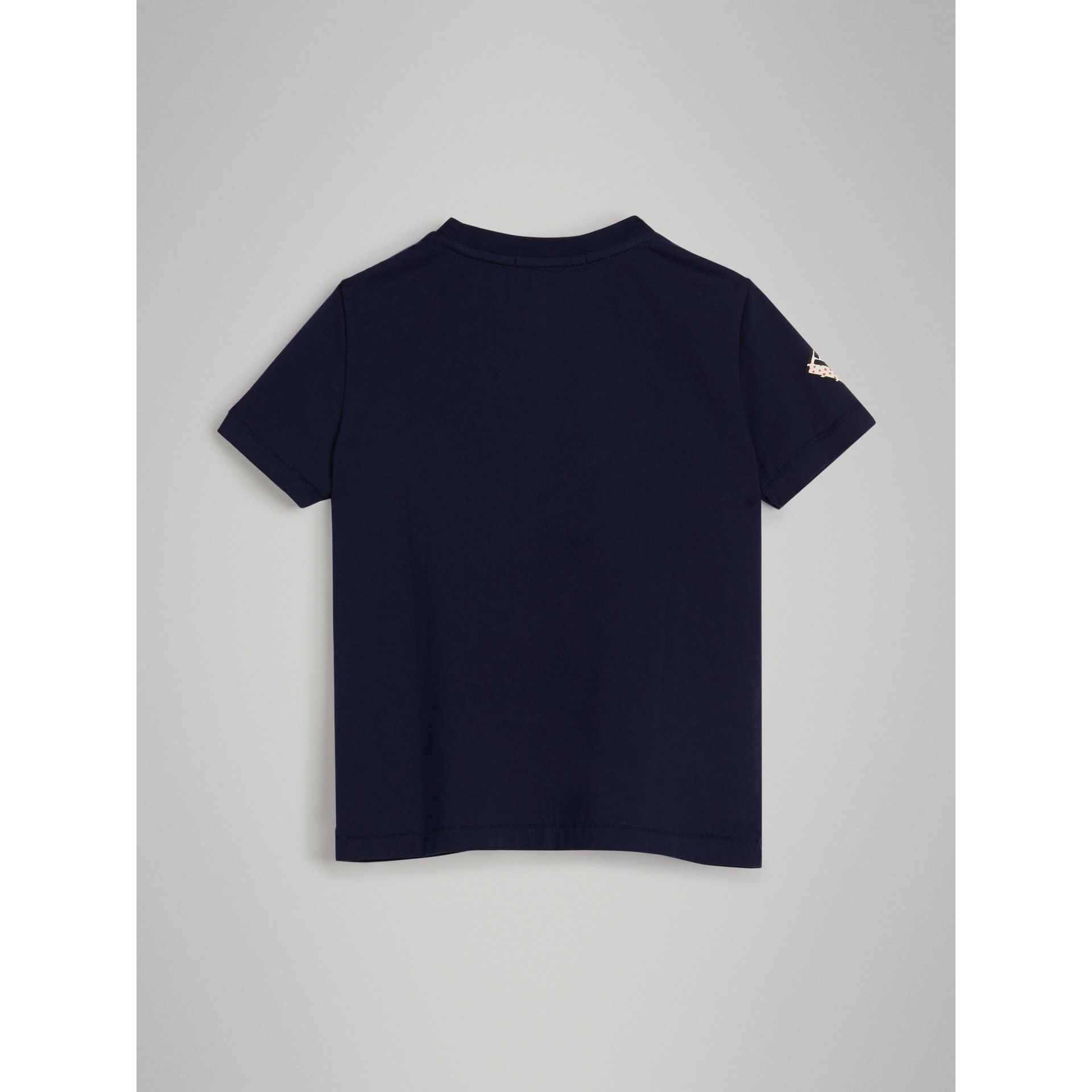 Graffiti Ticket Print Cotton T-shirt in Navy | Burberry - gallery image 3