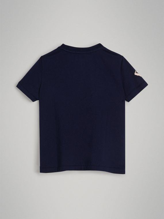 Graffiti Ticket Print Cotton T-shirt in Navy - Boy | Burberry - cell image 3