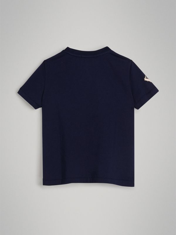 Graffiti Ticket Print Cotton T-shirt in Navy | Burberry United States - cell image 3