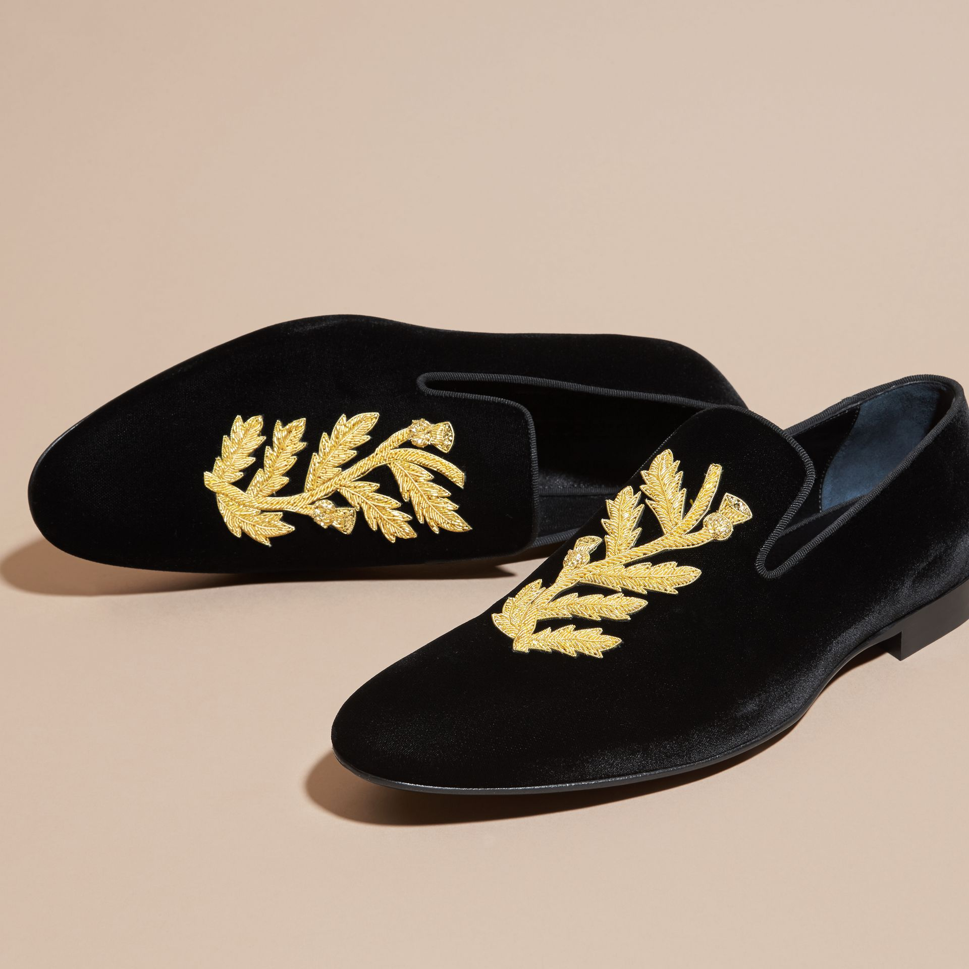 Black Embroidered Velvet Loafers - gallery image 3