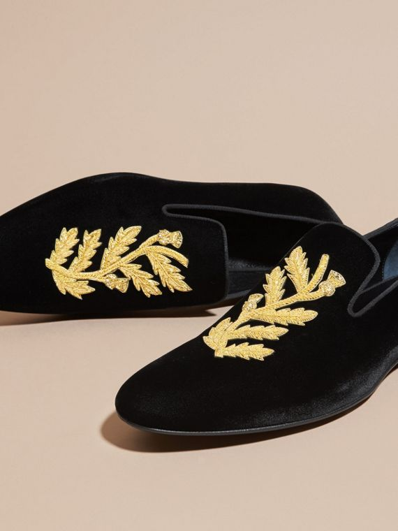 Black Embroidered Velvet Loafers - cell image 2