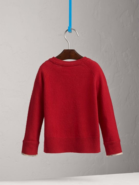 Check Cuff Cashmere Sweater in Parade Red - Girl | Burberry Australia - cell image 3