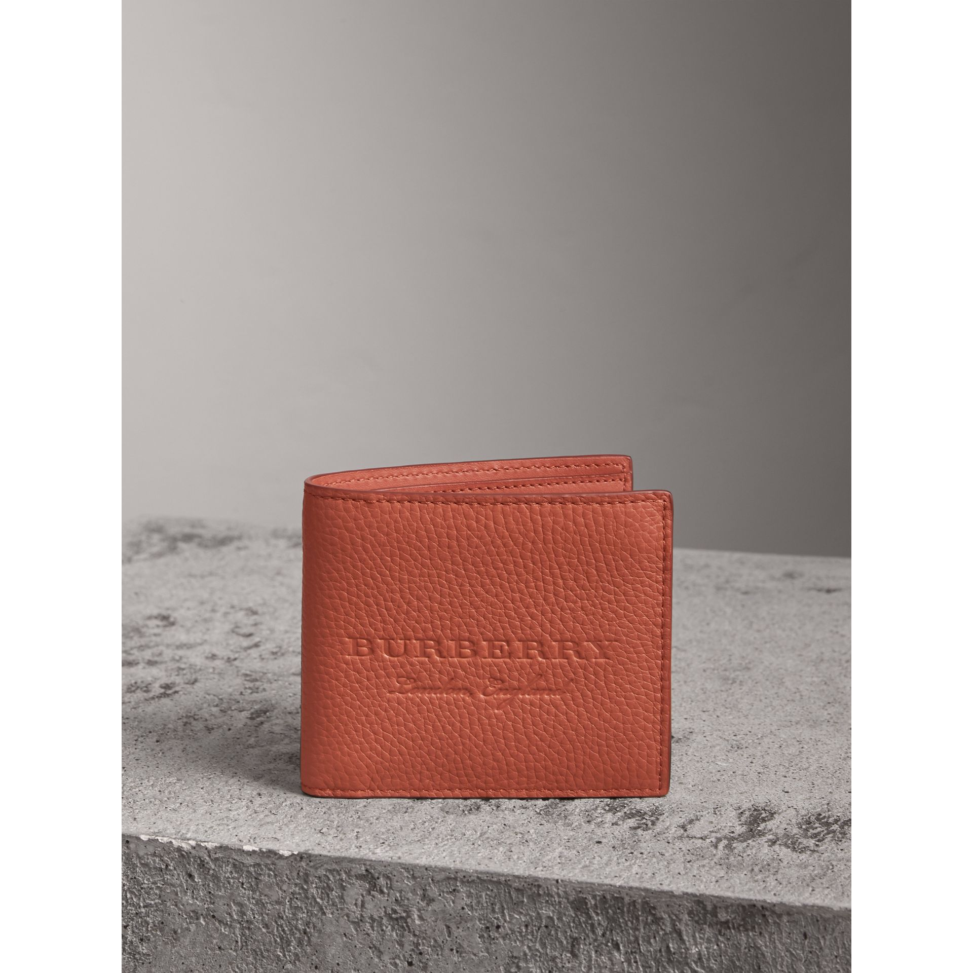 Embossed Leather Bifold Wallet in Chestnut Brown - Men | Burberry - gallery image 5