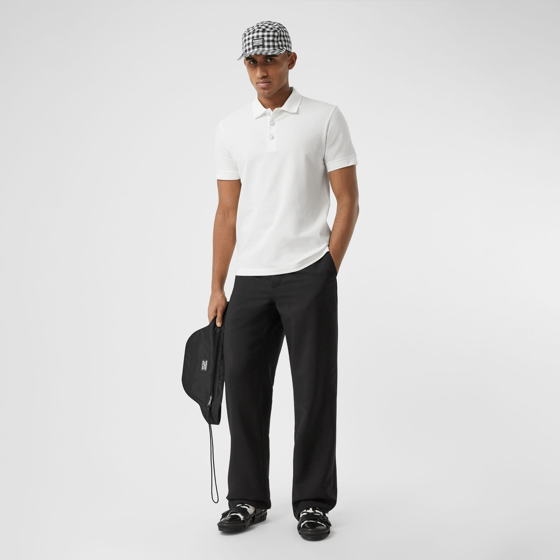 Cotton Piqué Polo Shirt in White - Men | Burberry United Kingdom - gallery image 4
