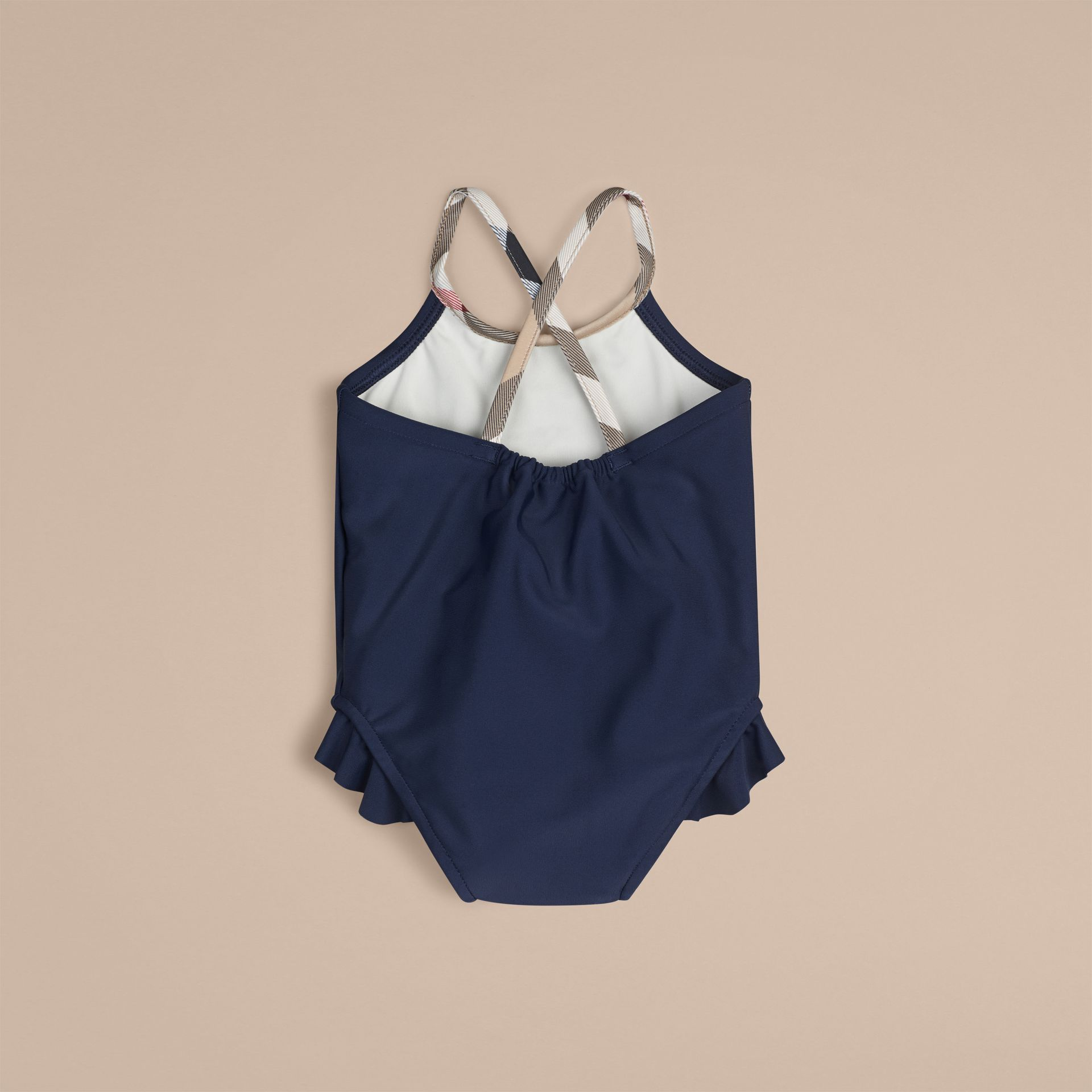 Check Trim Swimsuit in Navy | Burberry - gallery image 2