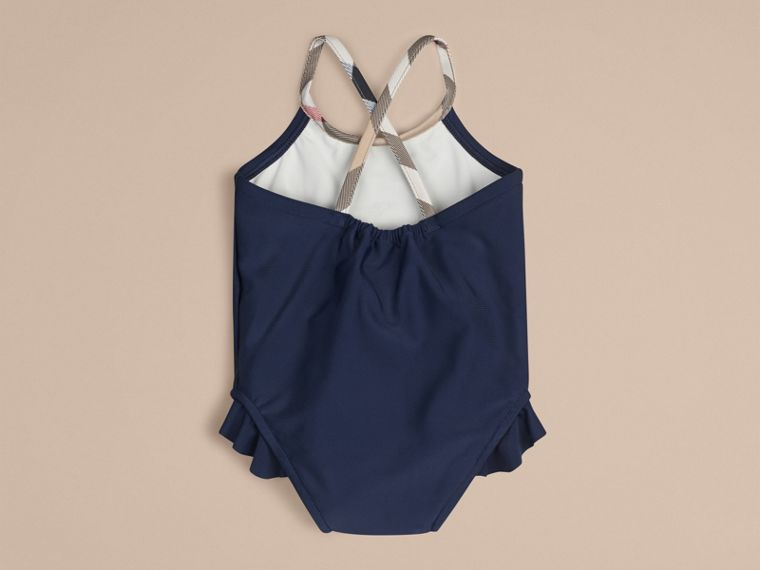 Check Trim Swimsuit in Navy | Burberry - cell image 1