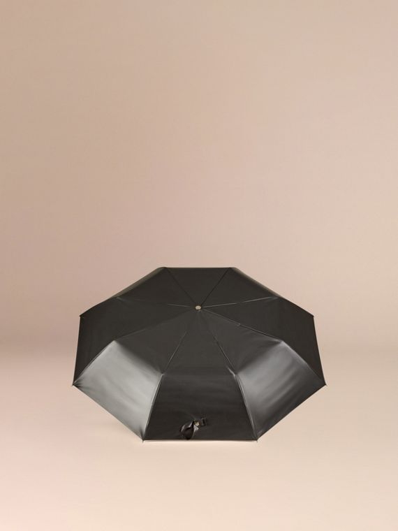 Check-lined Folding Umbrella in Camel - cell image 3