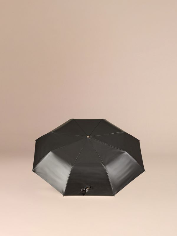 Check-lined Folding Umbrella in Camel | Burberry - cell image 3