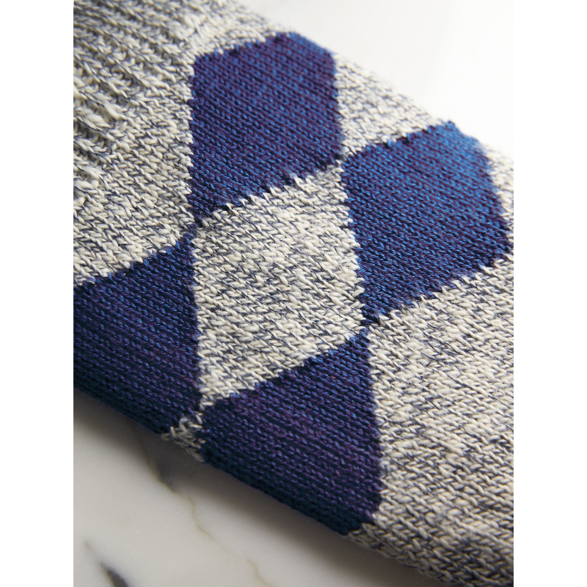 Diamond Knit Cotton Mouliné Socks in Cobalt Blue | Burberry - gallery image 2