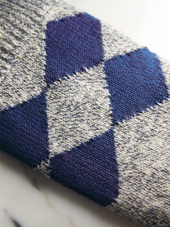 Diamond Knit Cotton Mouliné Socks in Cobalt Blue | Burberry - cell image 1