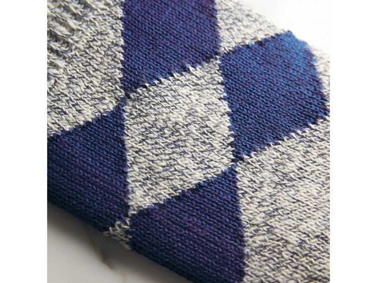 Diamond Knit Cotton Mouliné Socks in Cobalt Blue | Burberry Australia - cell image 1