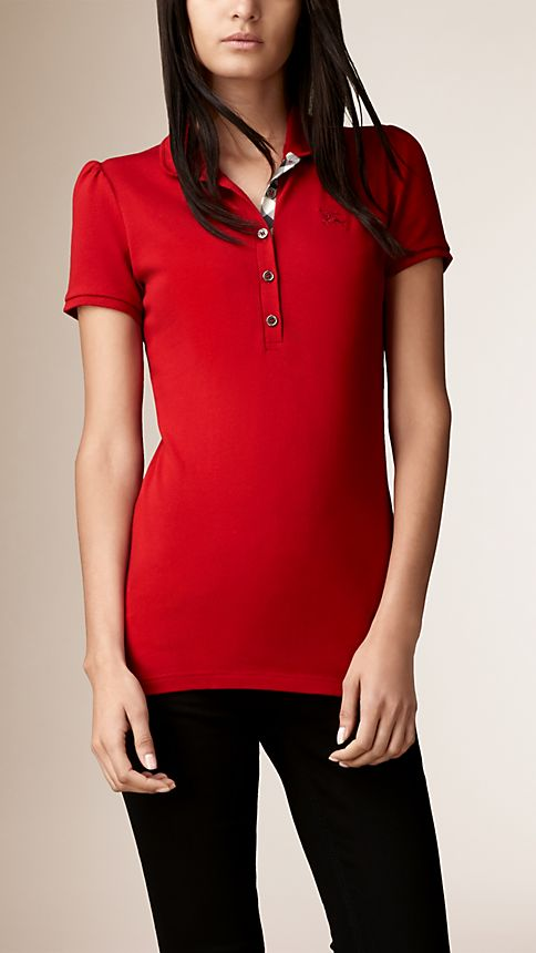 Military red Check Placket Polo Shirt - Image 1