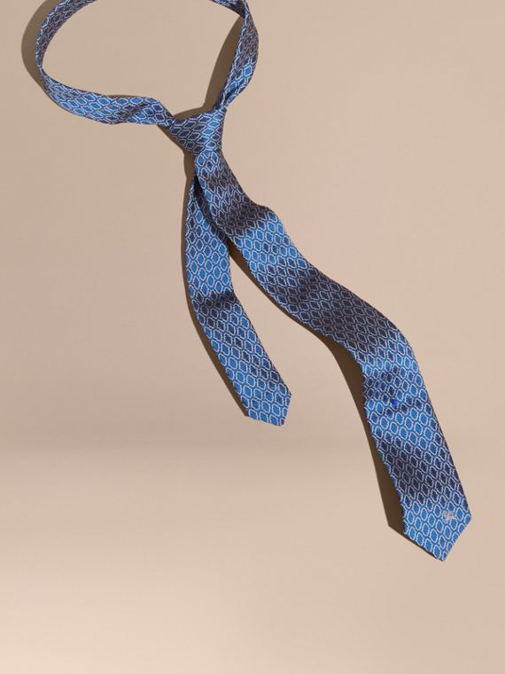 Slim Cut Geometric Jacquard Silk Tie Hydrangea Blue