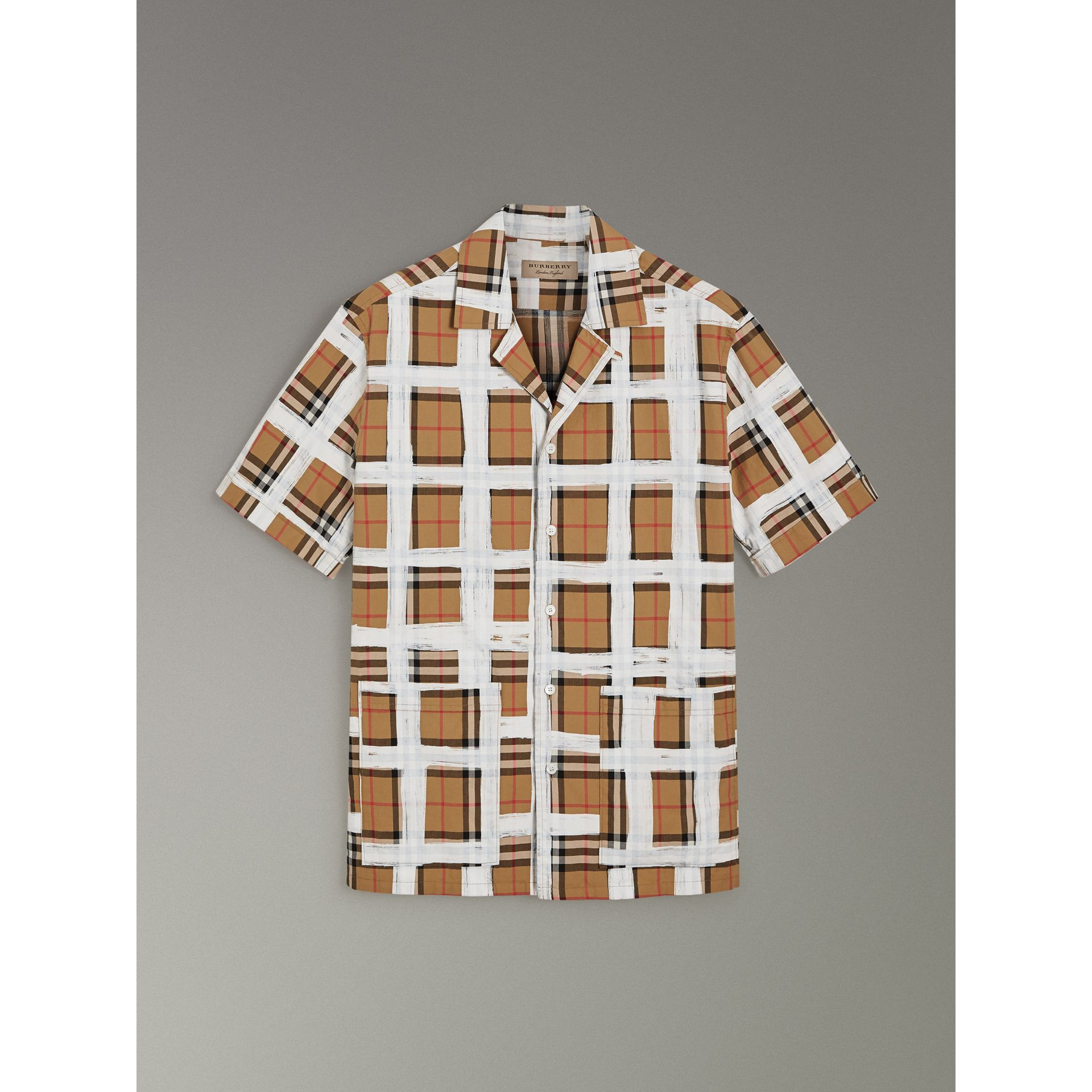 Short-sleeve Painted Vintage Check Cotton Shirt in Antique Yellow - Men | Burberry Australia - gallery image 3