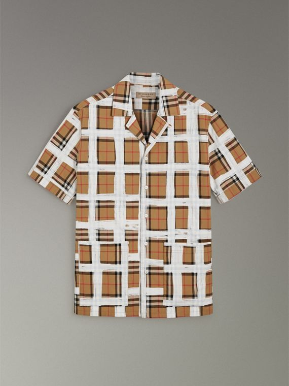 Short-sleeve Painted Vintage Check Cotton Shirt in Antique Yellow - Men | Burberry Australia - cell image 3