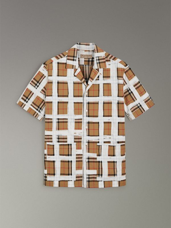 Short-sleeve Painted Vintage Check Cotton Shirt in Antique Yellow - Men | Burberry United Kingdom - cell image 3