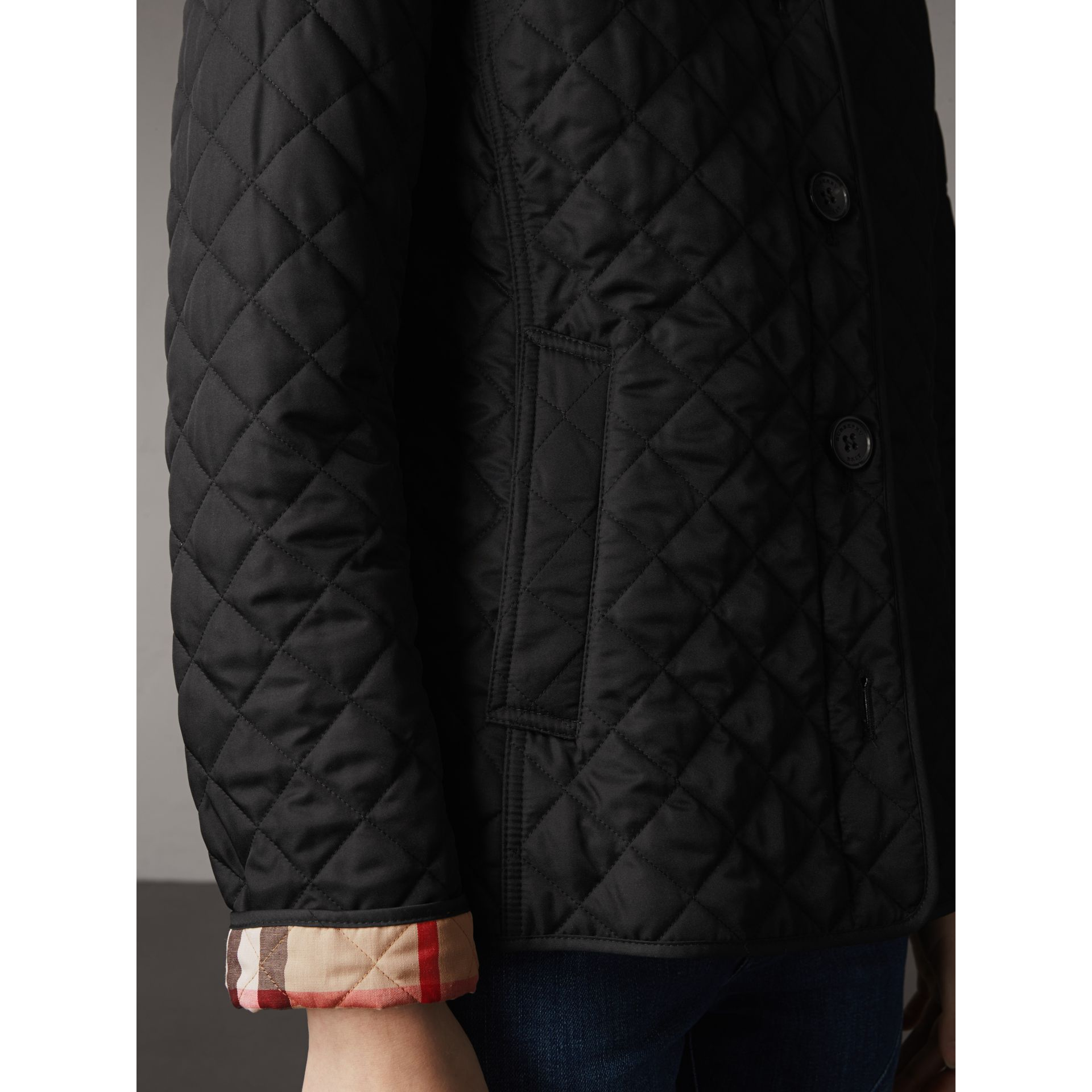 Diamond Quilted Jacket in Black - Women | Burberry Australia - gallery image 4