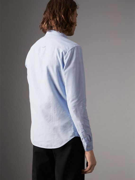 Cotton Oxford Shirt in Pale Blue - Men | Burberry - cell image 2