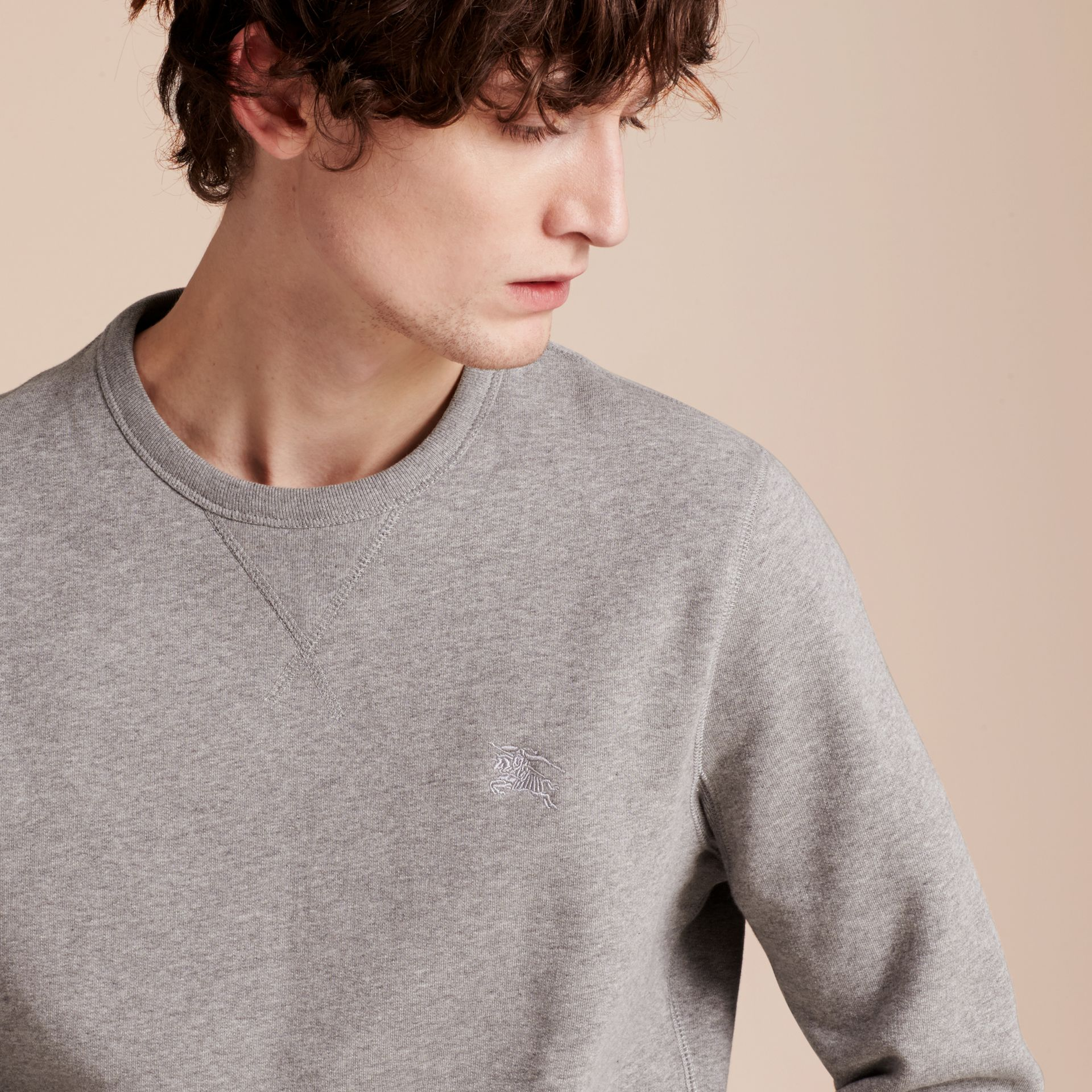 Pale grey melange Cotton Blend Jersey Sweatshirt Pale Grey Melange - gallery image 5