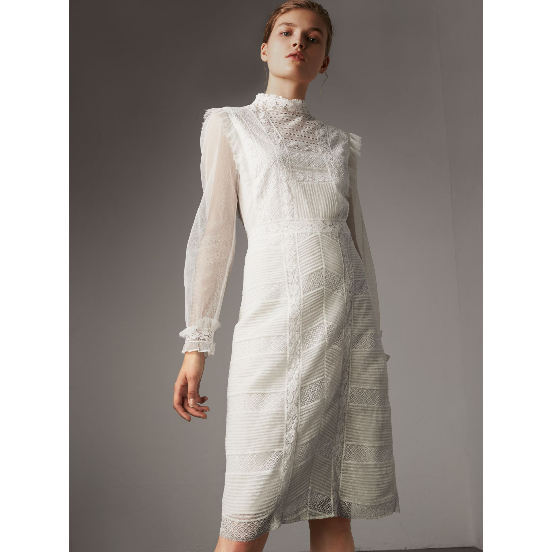 Ruffle Detail Lace Mesh Dress in White - Women | Burberry - gallery image 1