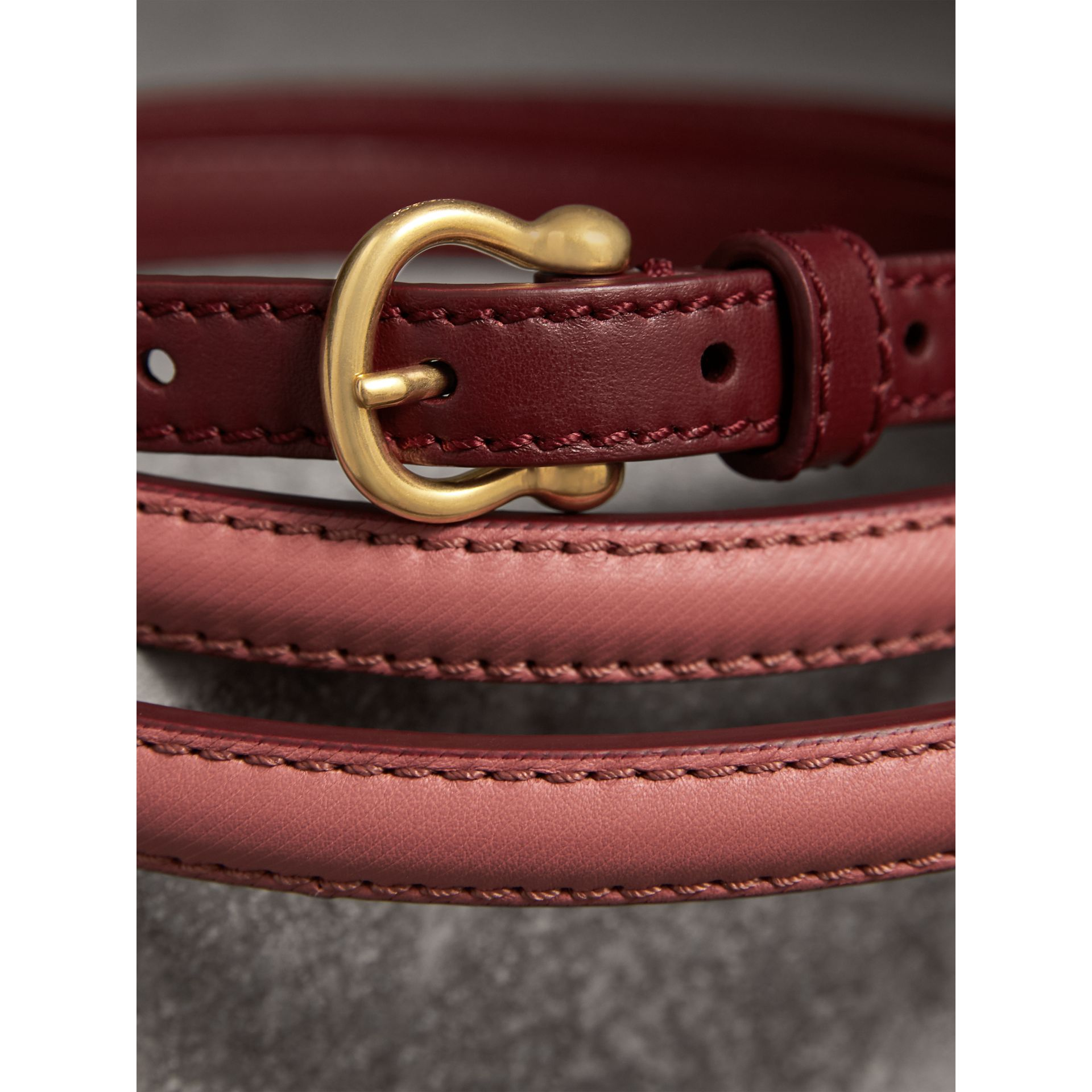 Two-tone Trench Leather Belt in Blossom Pink/ Antique Red - Women | Burberry Australia - gallery image 2