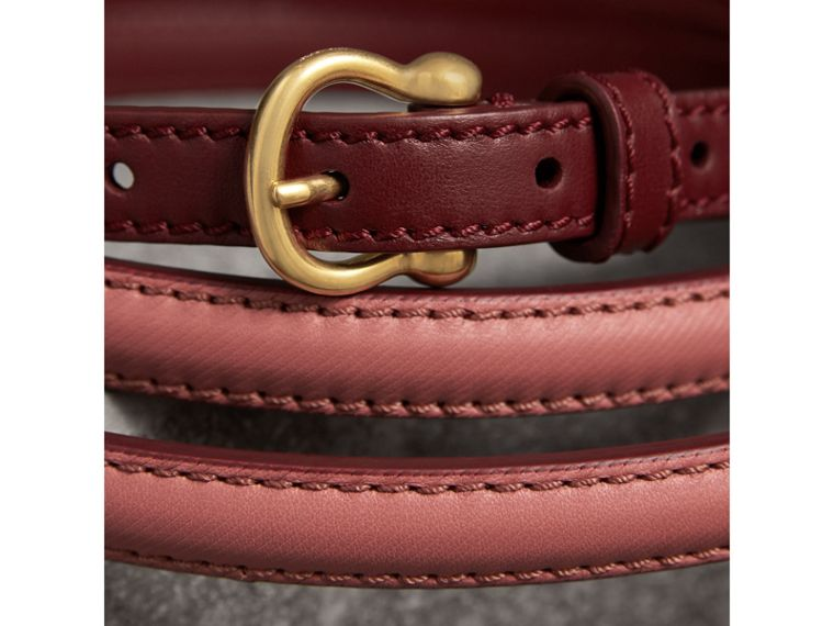 Two-tone Trench Leather Belt in Blossom Pink/ Antique Red - Women | Burberry Australia - cell image 1
