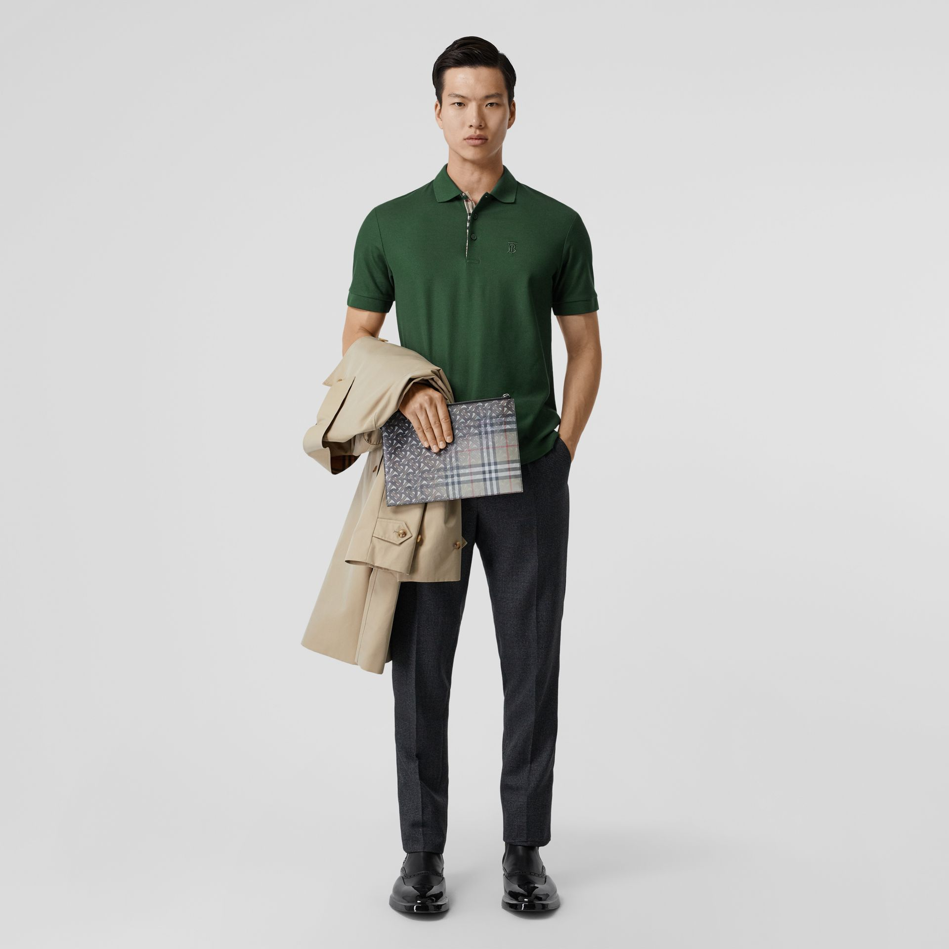 Monogram Motif Cotton Piqué Polo Shirt in Dark Pine Green - Men | Burberry - gallery image 0
